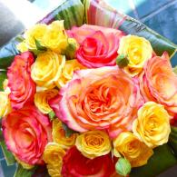 Colorful Rose Bouquet with Leaves