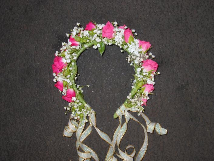 Hot pink spray roses head band]