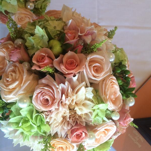 Roses, Dahlias,Pearls, Bell of Ireland, Spray Roses
