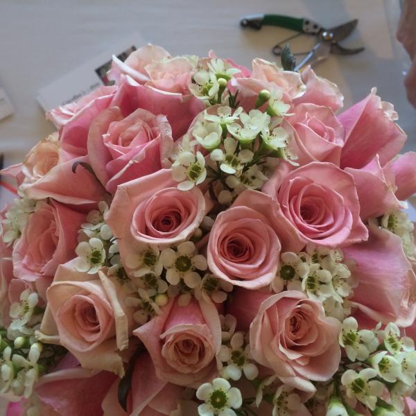 Sweet Heart Roses, Wax Flowers - Bridal Bouquet Gallery