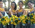 Yellow roses, Dusty miller , Succulent, Yellow dots