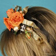 Orange Floral Head Piece